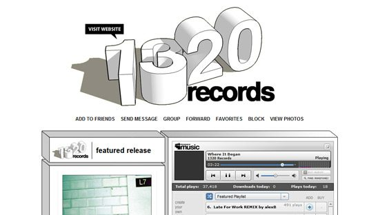 1320 Records myspace design