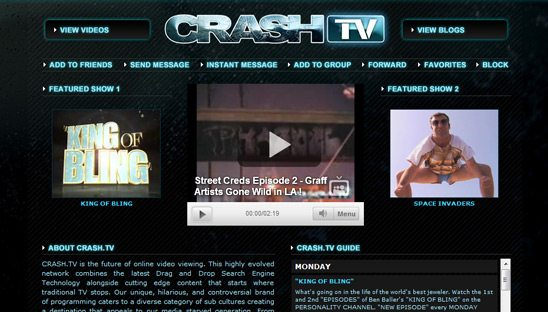 Crash TV video Myspace Design