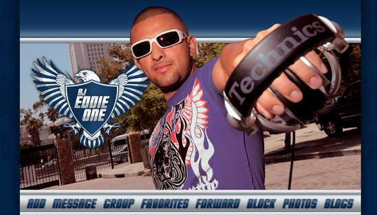 DJ Eddie One Band Myspace Design