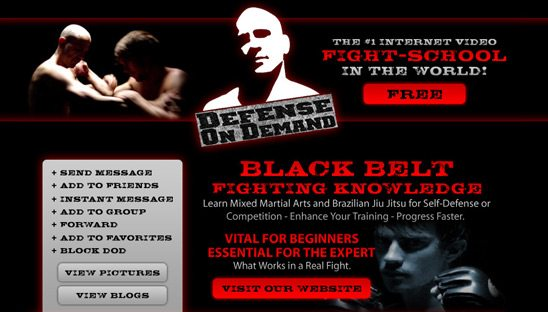 Defense on Demand Myspace Page Design