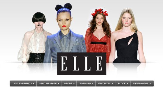 ELLE Magazine Myspace page