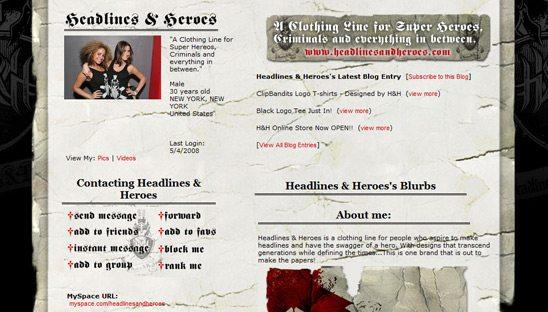 Headlines & Heroes basic myspace design
