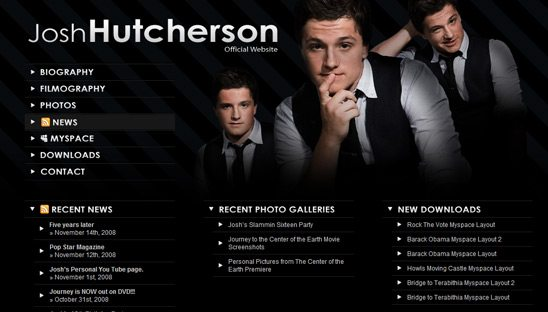 Josh Hutcherson Official Wordpress Design website