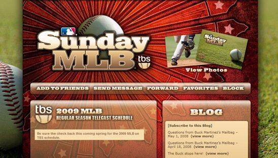 MLB on TBS myspace layout