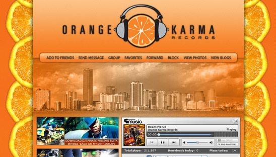 Orange Karma Records myspace design