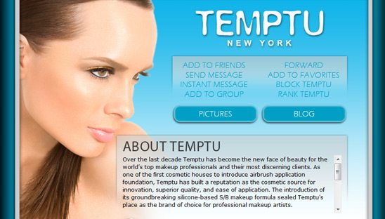 Temptu Makeup Myspace Design