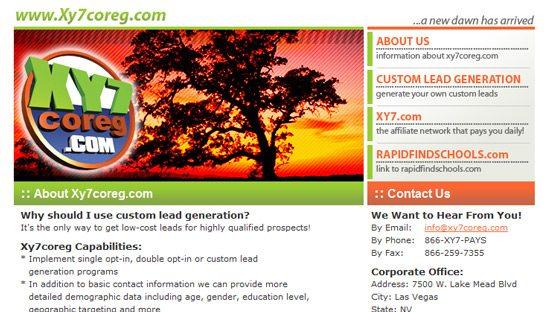 XY7 website design