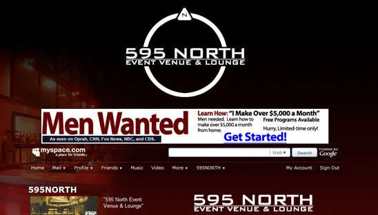 595 North Event Venue & Lounge Myspace Design