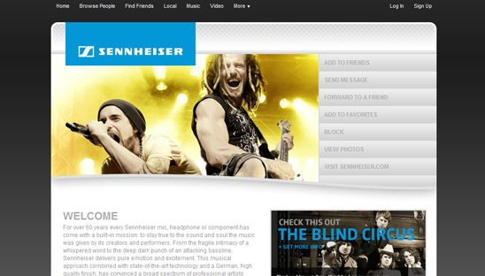 Sennheiser Featured Myspace Design