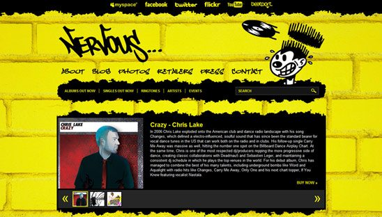 Nervous Records Wordpress Design Website