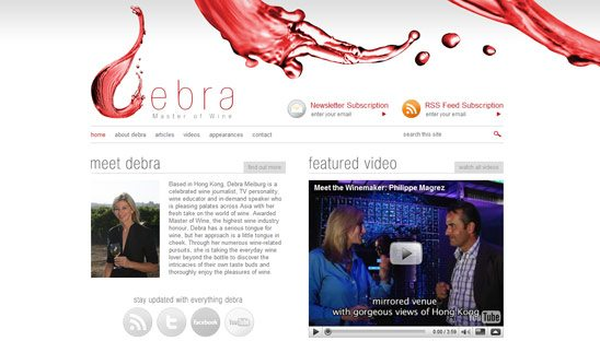Debra Master of Wine Wordpress Design