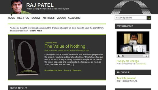 Raj Patel Wordpress Blog Design