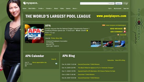 American Pool Association 2.0 Myspace re-design
