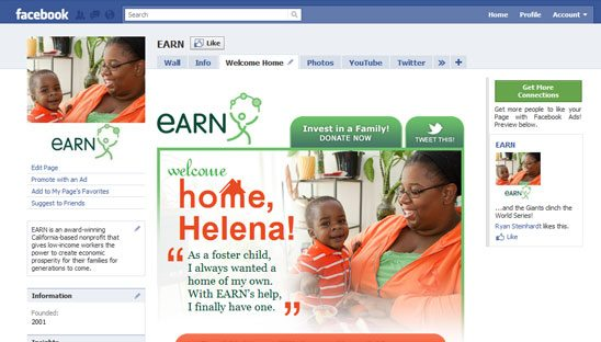 EARN nonprofit Facebook Design