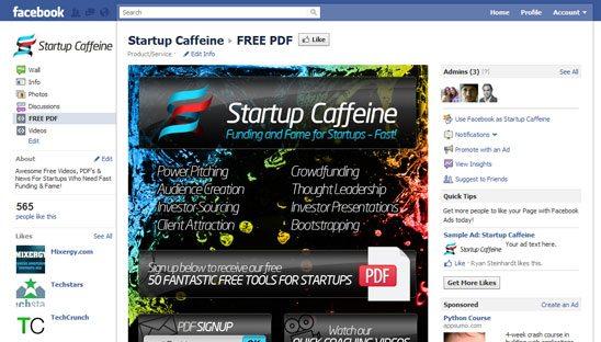 Startup Caffeine FBML Facebook Design