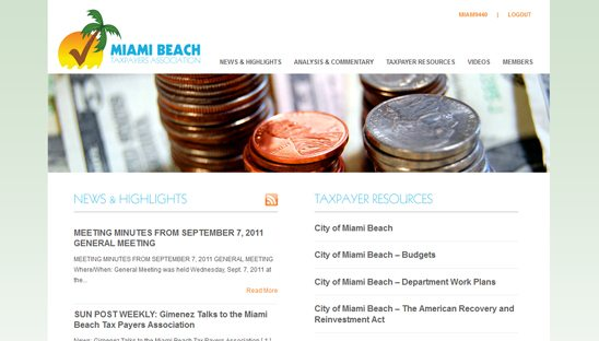Miami Beach Taxpayers Association Logo & Wordpress Design