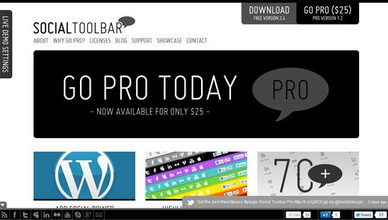 Social Toolbar Pro Plugin Wordpress Design