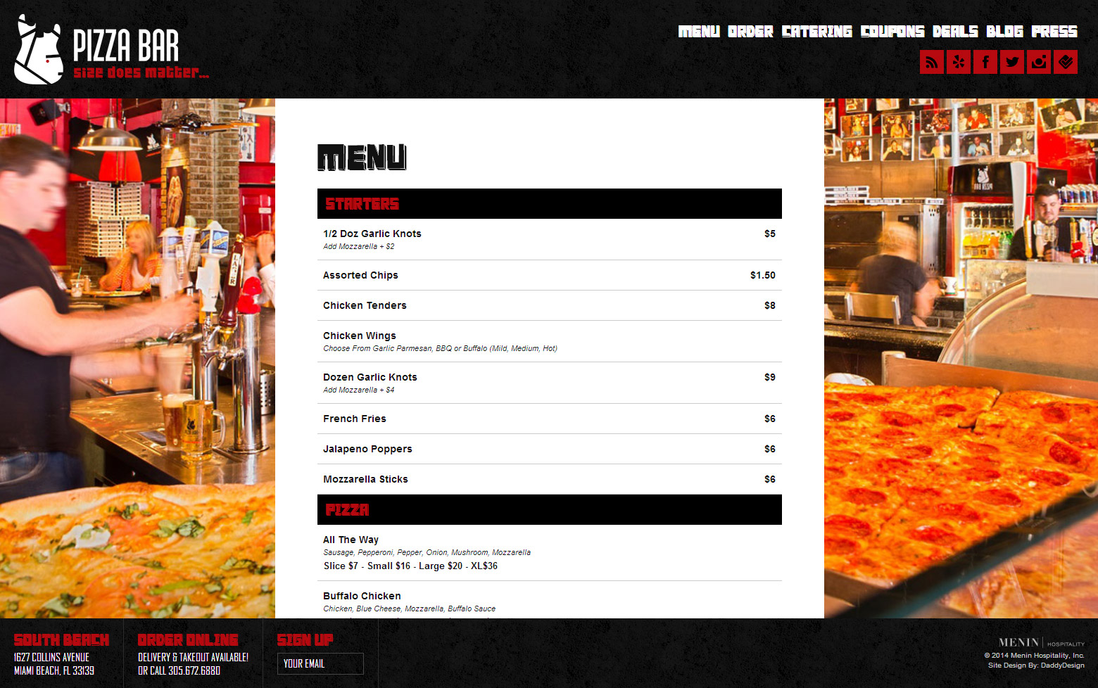Online Pizza Menu