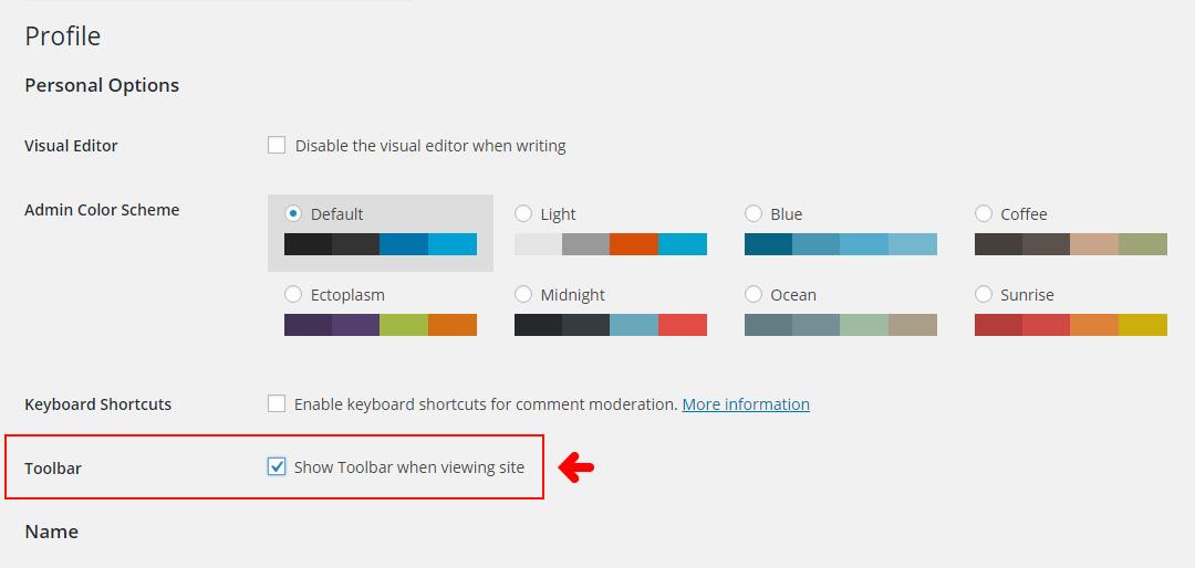 WordPress Dashboard - Toggle Toolbar On/Off for Users