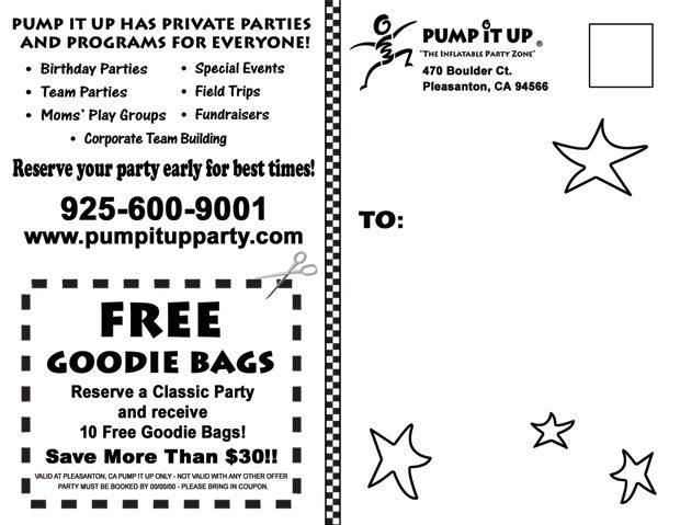 Pump It Up Invitation and Postcard Designs – Pump It Up Party Invitations