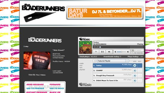 Bladerunners Music Myspace Design