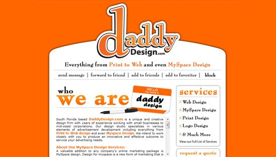 Daddy Design Company Myspace page
