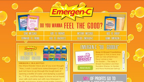 Emergen-C Company Myspace Design