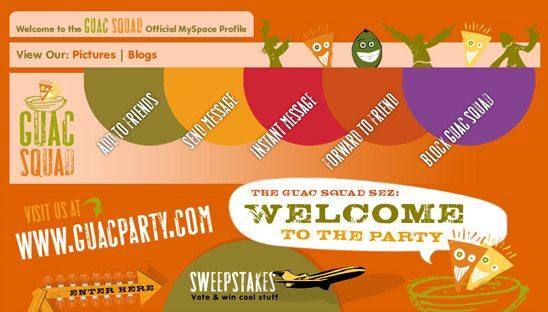 Guac Party Promotion Myspace Design