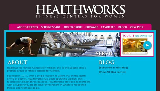 Healthworks fitness business myspace design