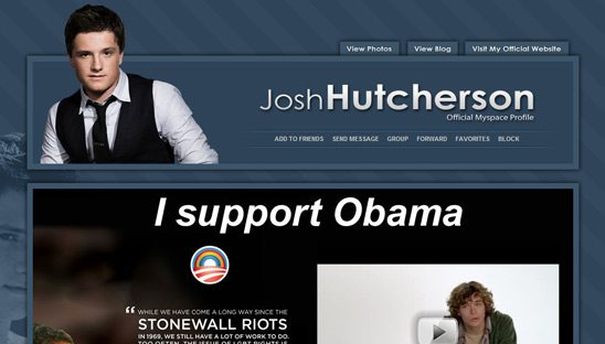 Josh Hutcherson Official myspace design