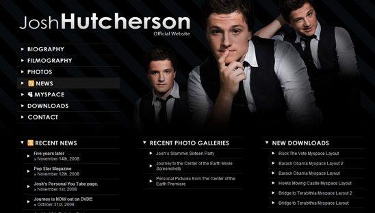 Josh Hutcherson Official Wordpress Design website