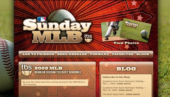 MLB on TBS myspace layout