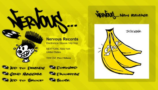 Nervous Records Band Myspace profile design
