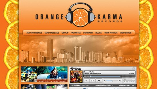 Orange Karma Records myspace design