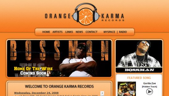 Orange Karma Records Website design