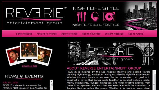 Reverie Promoting Myspace page