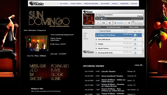 Sun Domingo Myspace page