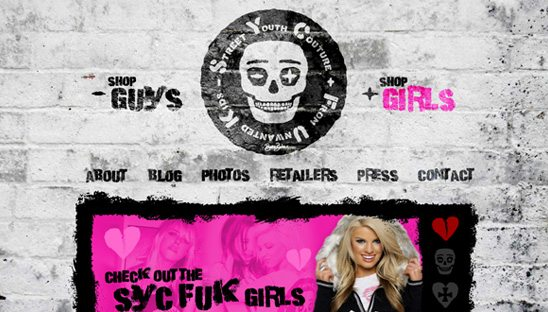 Syc Fuk Clothing web design site