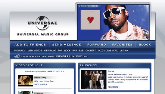 Universal Music Group myspace design