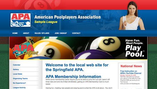 APA Leagues Franchise ASPX Web Design