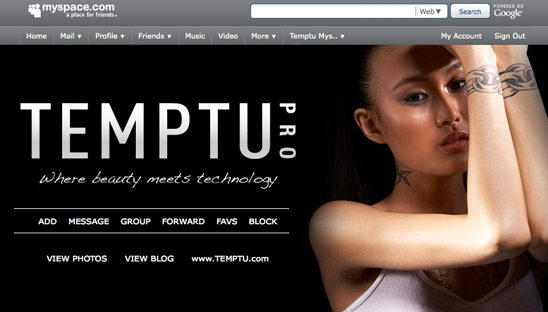 Temptu Myspace Re-design Page