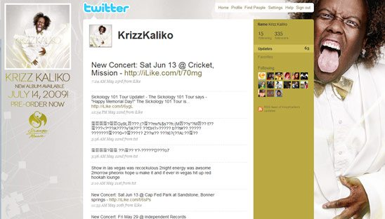 Krizz Kaliko Music Twitter Design