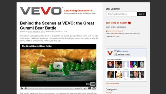 VEVO Wordpress Blog Design