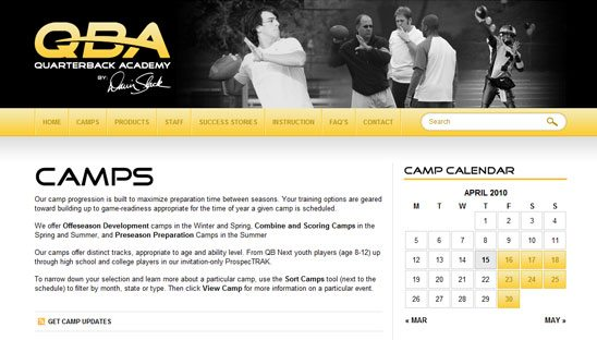 Quarterback Academy Wordpress Design