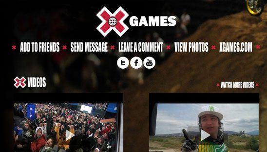 X Games ESPN Myspace Design