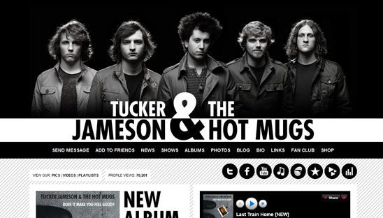 Tucker Jameson & The Hot Mugs Band Social Network Design