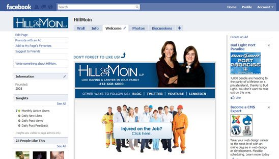 Hill & Moin Facebook tab