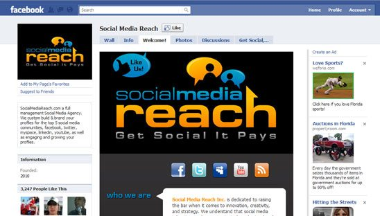Social Media Reach Custom Facebook Design