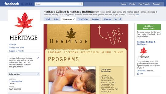 Heritage College Facebook Design