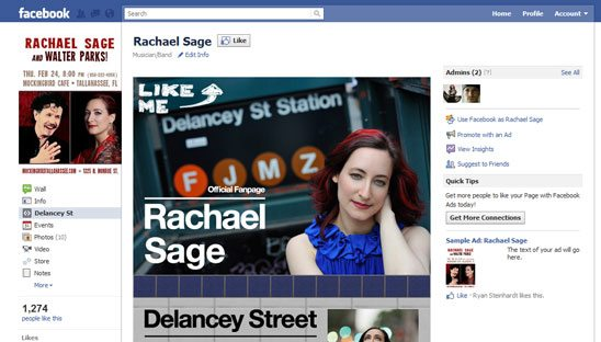Rachael Sage Musician Facebook Design